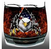 American Flag Eagle Rip Fire Flame Hood Wrap Wraps Sticker
