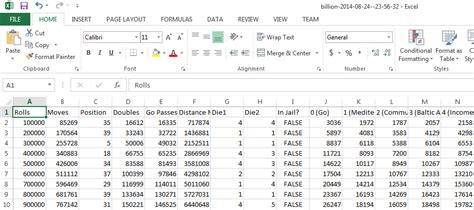 format of csv file in excel simulating monopoly for statistics