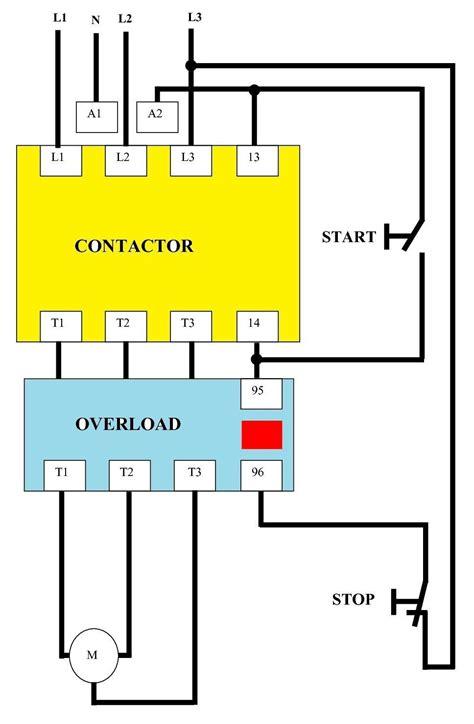 dol starter circuit diagram wiring single phase for motor