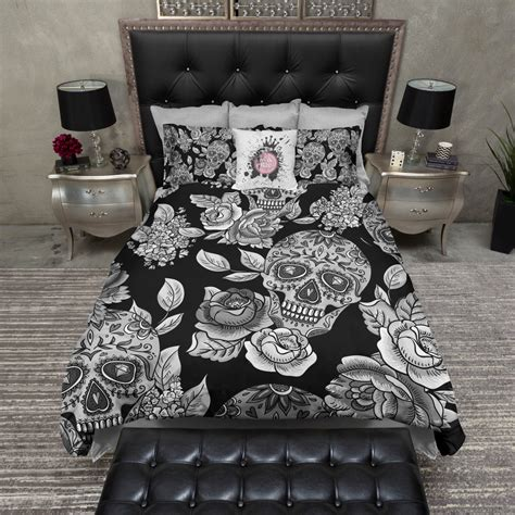 skull bed set lightweight sugar skull bedding black mega print by inkandrags