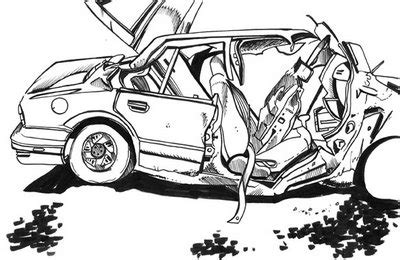 wrecked car drawing car drawing car