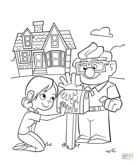 color up carl and ellie mailbox coloring page free printable