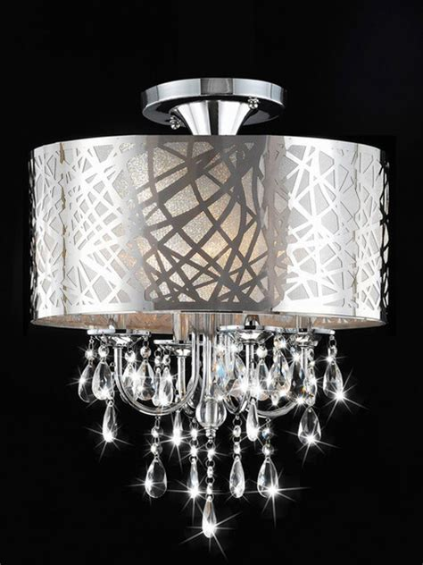 Contemporary Bathroom Chandeliers Chrome And 4 Light Flushmount Chandelier