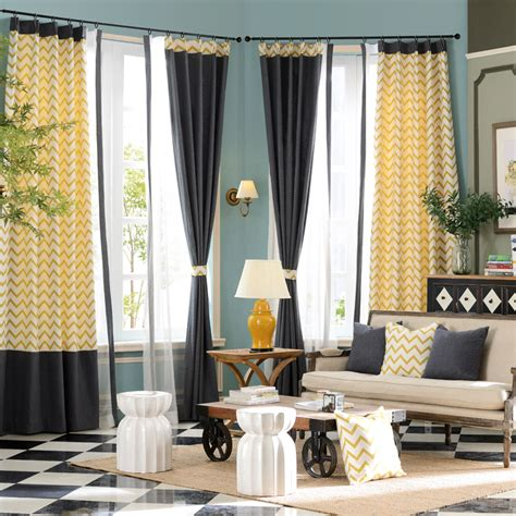 yellow curtains for living room yellow chevron jacquard linen cotton blend modern living