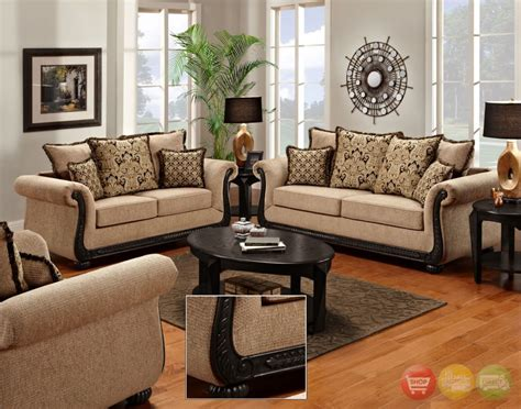 delray traditional sofa love seat living room furniture set taupe chenille  ebay