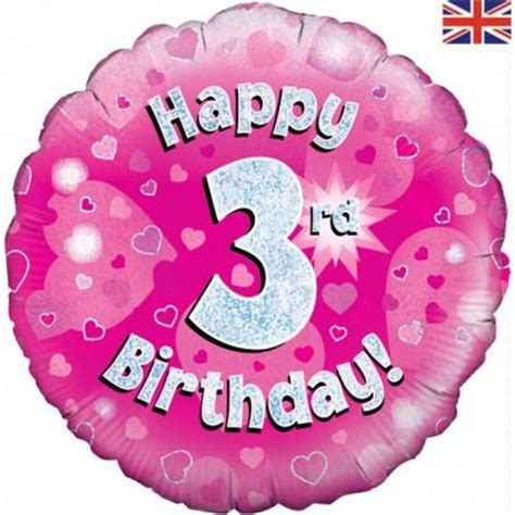 Happy 3rd Birthday Quotes For My Happy 3rd Birthday Pink 18 Inch Foil