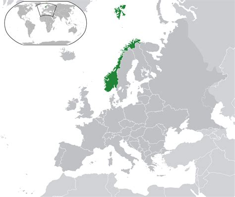 norway europe location of the norway in the world map