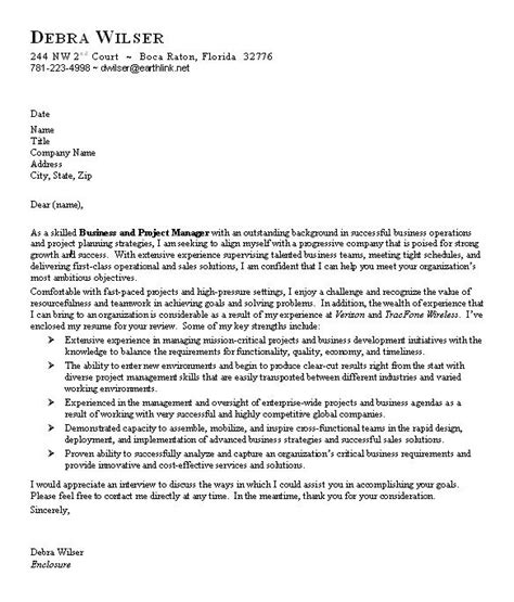 buisness cover letter sle business cover letter