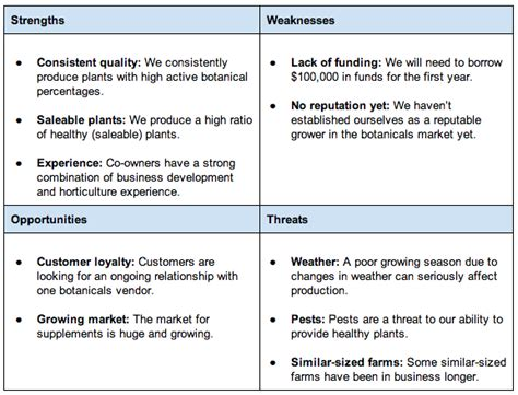 business plan swot analysis template swot analysis exles bplans