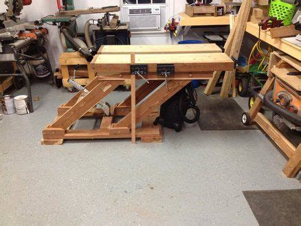 adjustable height split top workbench woodworking