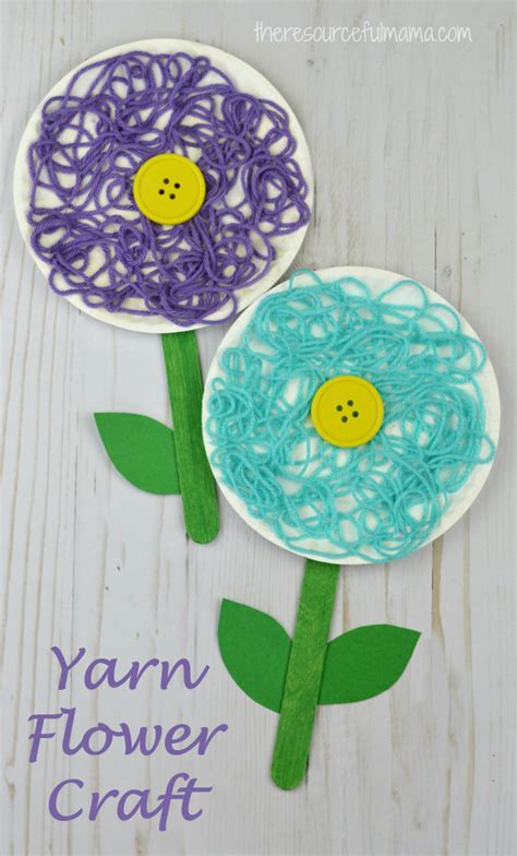 flower pattern for preschool mixed media flower craft for kids flower crafts yarns