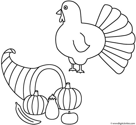 horn of plenty with turkey coloring page autumn fall