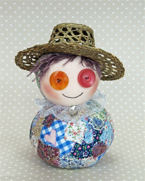 Patchwork Doll - flo flowers podgy patchwork doll