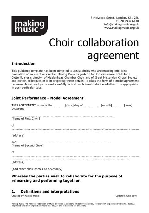 Collaboration Contract Template choir collaboration agreement template