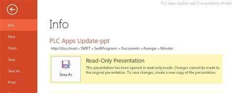 alex chang sharepoint portal redesign ppt files are getting opened as readonly mode from