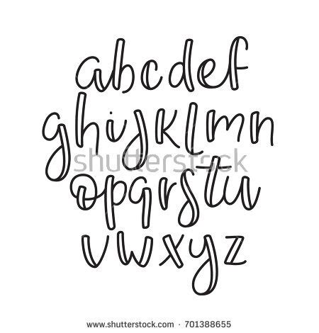super simple abc english line alphabet stock vector