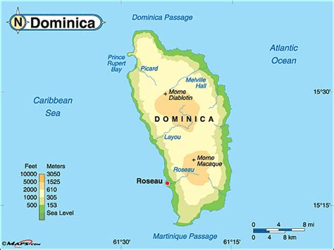dominica on world map dominica physical map by maps from maps world s