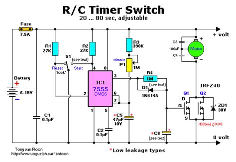 timer switch circuit diagram r c timer switch for radio applications circuit