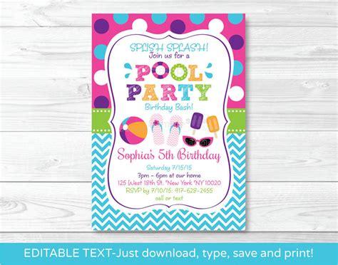 printable pool party chalkboard ticket graduation invitation high