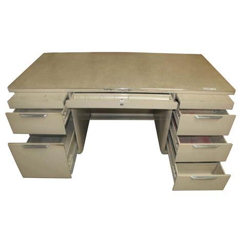 white formica desk 5ft vintage metal tank desk pedestal ebay