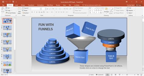 Animated Funnel Blocks Powerpoint Template Power Point Sles