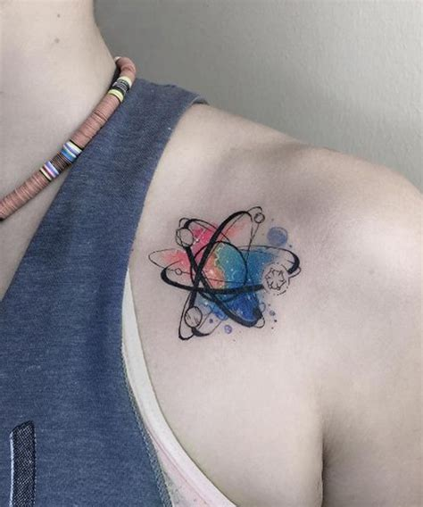 cute science inspired shoulder tattoo for women dinga poonga