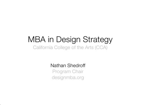 Mba Course Description by Mba In Design Strategy Program Description