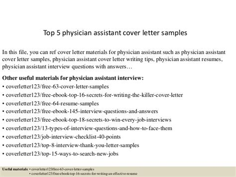 Pa Cover Letter top 5 physician assistant cover letter sles