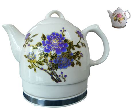 flower pattern kettles ceramic electric kettle with peony flower pattern two tone