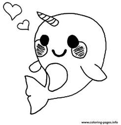 cute baby narwhal coloring coloring pages printable