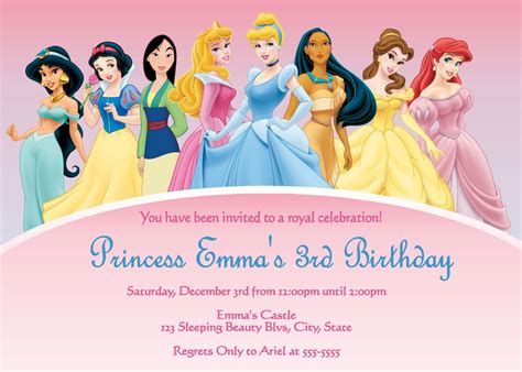 disney princess birthday invitations custom disney princesses birthday invitations disney princess