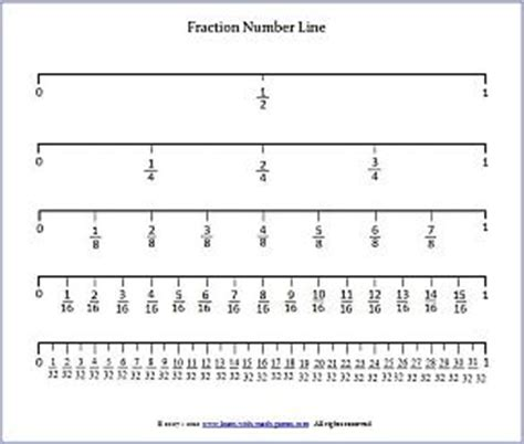 printable number line with fractions fraction number line for undertstanding fractions
