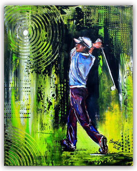 golfspieler golfer malerei bilder gem 228 lde gr 252 n burgstaller