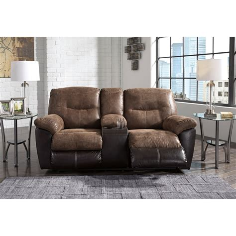 console loveseat two tone faux leather double reclining loveseat w console
