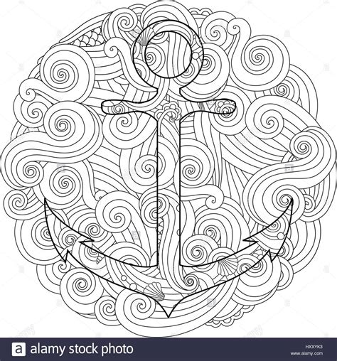 nautical mandala coloring pages coloring page with anchor in wave mandala zentangle