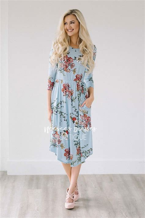 light blue floral dress light blue floral pocket modest dress best