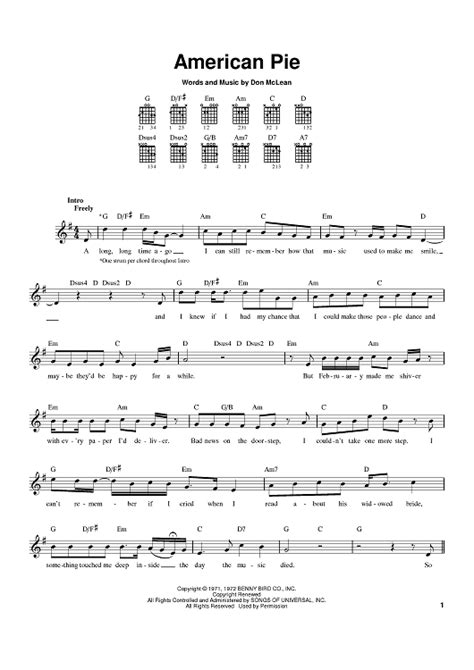 guitar tutorial american pie american pie sheet music music for piano and more