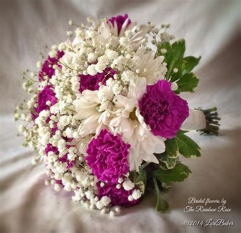 Wedding Bouquet Of Daisies by Brides Bouquet Of Purple Carnations And White
