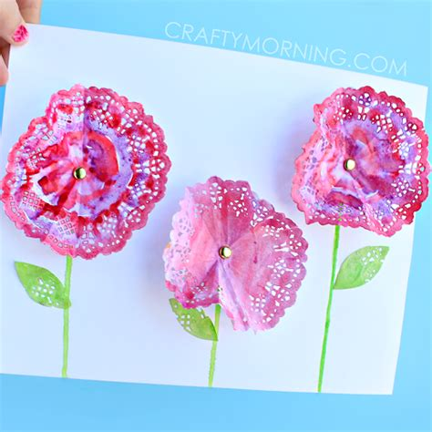 How To Make Paper Doily Flowers - 3d doily flowers craft for crafty morning