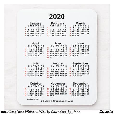 leap year white  week calendar  janz mouse pad zazzlecom   holiday calendar