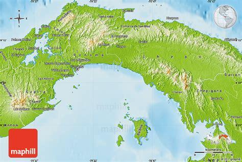 physical map of panama physical map of panama