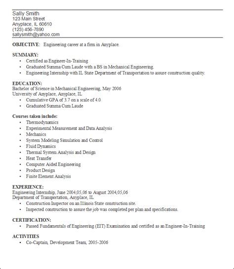 Resume After One Resume After College Berathen