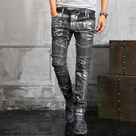 cool pattern jeans italy famous brand silver coated jeans men boot cut cool