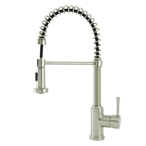 spring pull down kitchen faucet italia residential single handle spring coil pull down sprayer kitchen faucet in brushed nickel