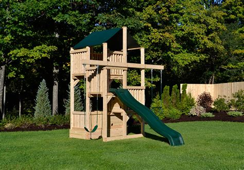 swing sets for small spaces cedar swing sets the quad space saver tower