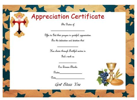 thoughtful pastor appreciation certificate templates to