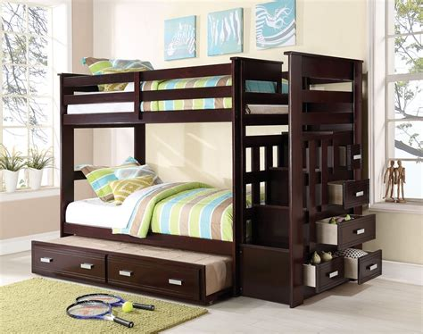 allentown espresso trundle bunk bed with stairs