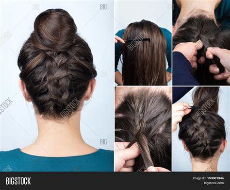 upside down v haircuts modern hairstyle reverse braided image photo bigstock