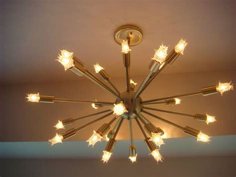 Chandelier Light Fixtures Sputnik Starburst Light Fixture Chandelier L Satin Brushed Brass With Bulbs Ebay