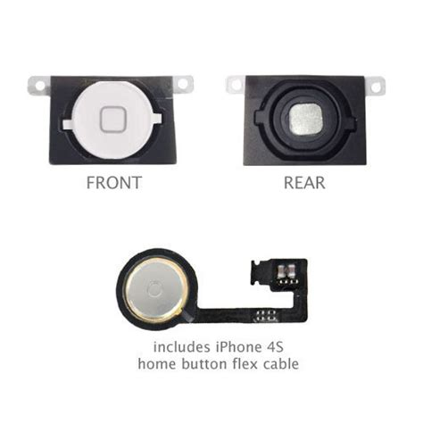 Touchscreen Apple 4 Flexibel Home Button Ori iphone 4s homebutton home button with flex cable includes key cap rubber gasket white incl 2 x
